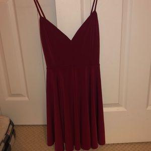 Dark red strappy dress